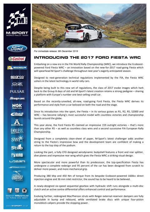 M-Sport introducerer den nye 2017 Ford Fiesta WRC