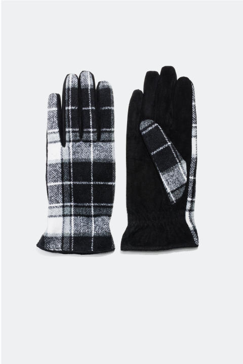Leather and tweed gloves