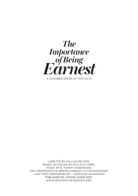 "Libretto ""The Importance of Being Earnest"""