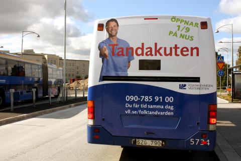 Tandakuten Umeå bussreklam