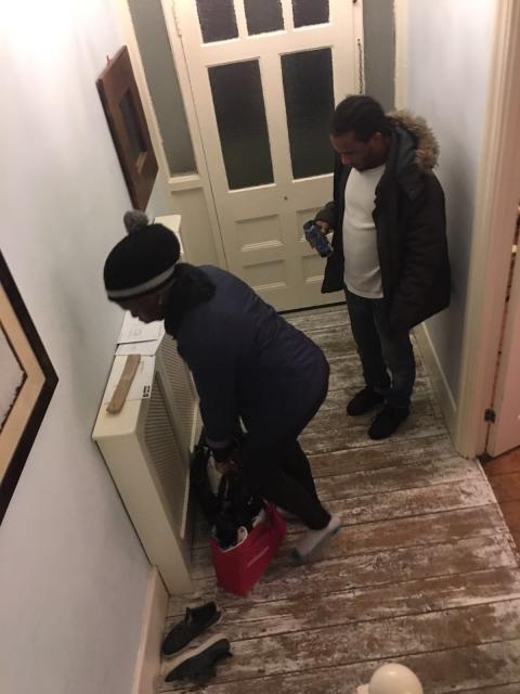 Matovu and Dunbar fleeing Victim 1's flat