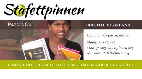 Visittkort Birgith Rosseland.