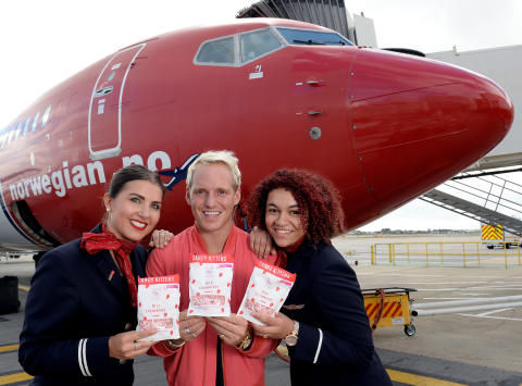 Jamie Laing with Norwegian cabin crew