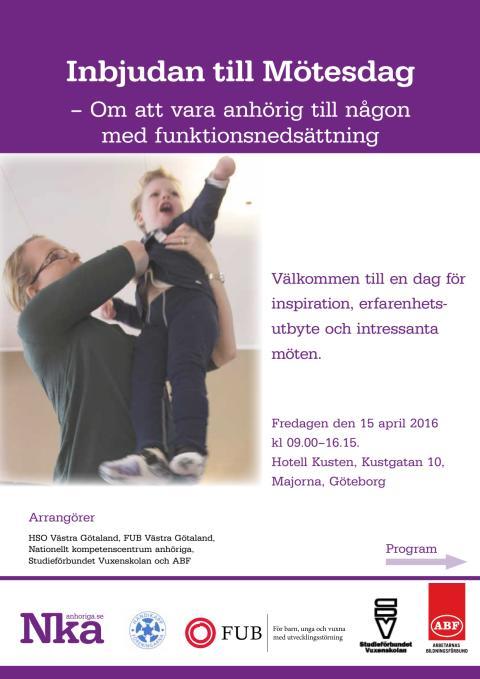 Inbjudan till Mötesdag: Om att vara anhörig till någon med funktionsnedsättning