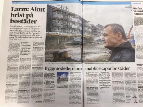 """BoKlok i Sydsvenskan - """"Byggmodellen som snabbt skapar bostäder"""""""