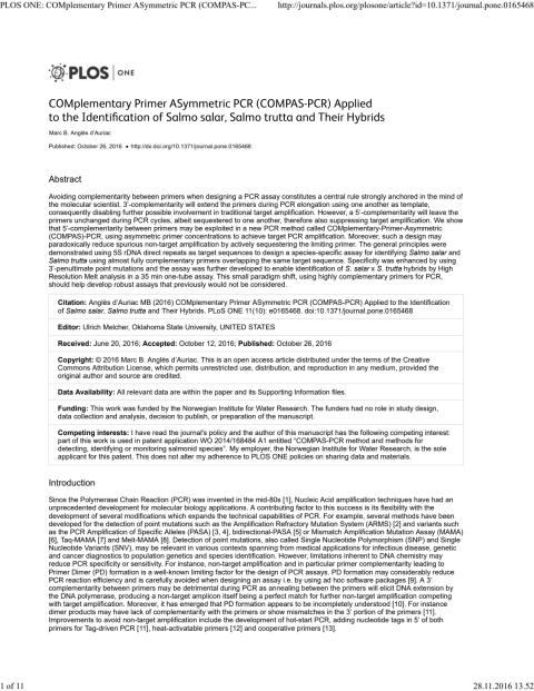COMplementary Primer ASymmetric PCR (COMPAS-PCR) Applied to the Identification of Salmo salar, Salmo trutta and Their Hybrids