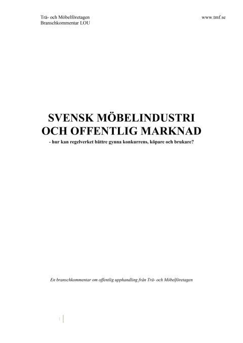 Svenska möbelindustri och offentliga marknaden - TMF-kommentar