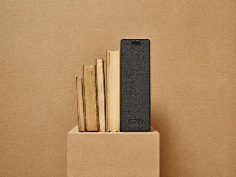 SYMFONISK wifi-højttaler (799.-). Kan bruges som boghylde eller bogstøtte.