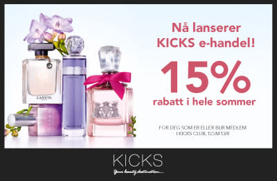 Nå lanseres KICKS e-handel! 15% rabatt i hele sommer på kicks.no!