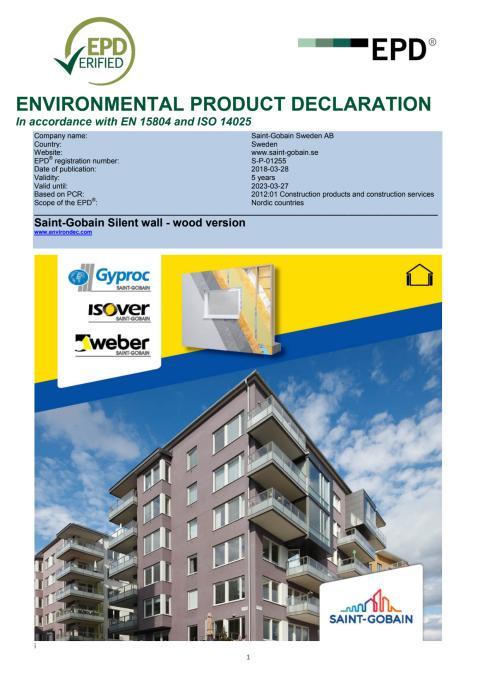 Saint-Gobain Silent Wall EPD för träkonstruktion