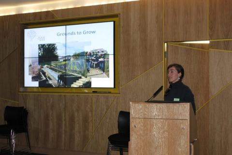 Roz Corbett, Development Worker for the Federation of City Farms and Community Gardens speaking at the Grounds to Grow event at Saracen House