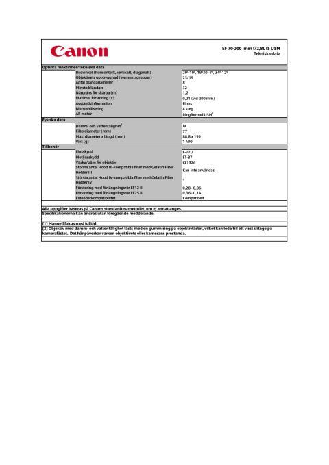 Teknisk specifikation EF 70-200 mm f/2,8L IS II USM