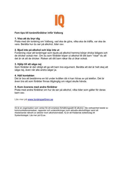 Fem tips till föräldrar inför valborg