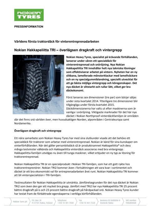 Pressrelease Nokian Hakkapeliitta TRI
