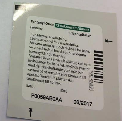 Fentanyl Orion 12µg/h med batchnummer P0059AB0AA
