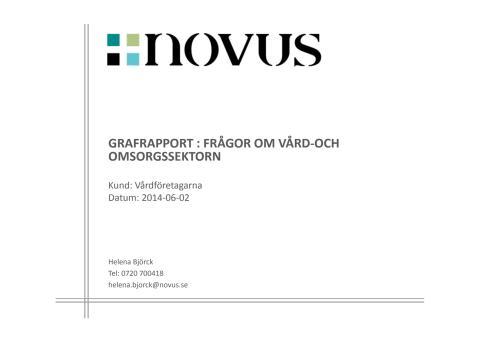 Novusrapport- svenska folkets uppfattning om vård och omsorg