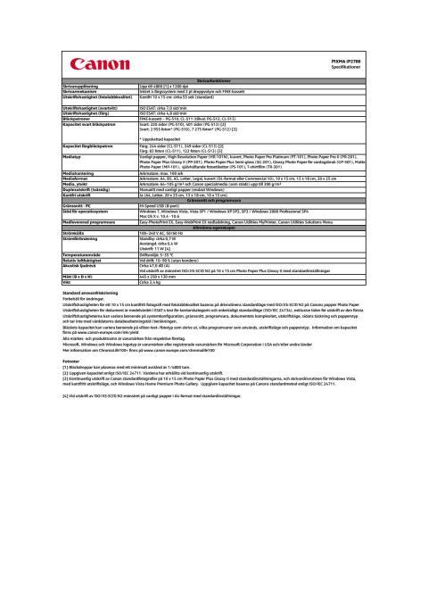 Teknisk specifikation PIXMA IP2700