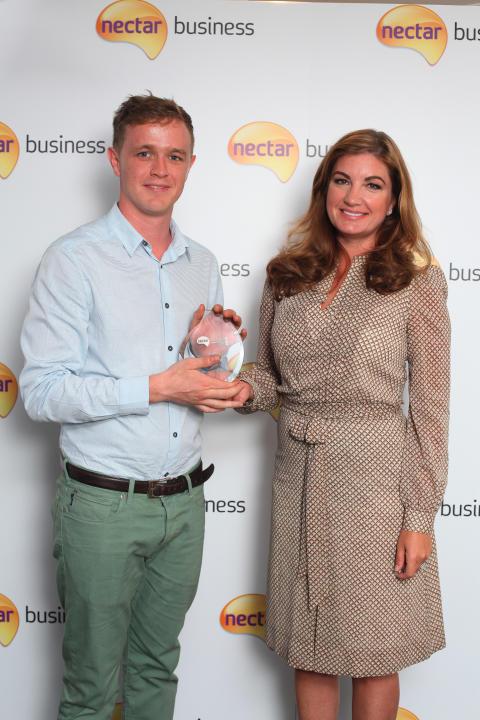 Contribution to the Community Award winner, Patrick Church, with Nectar Business Small Business Awards judge, Karren Brady