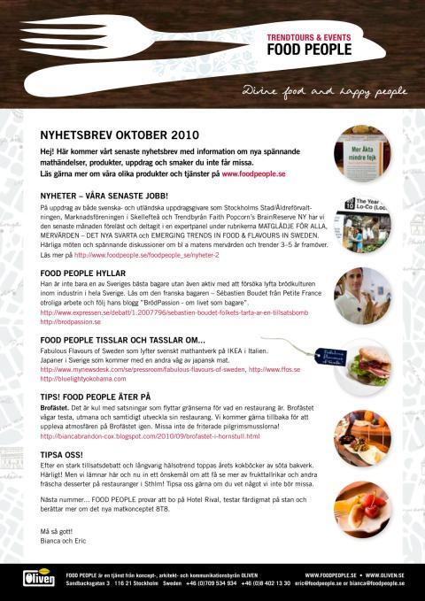 FOOD PEOPLE nyhetsbrev Oktober 2010
