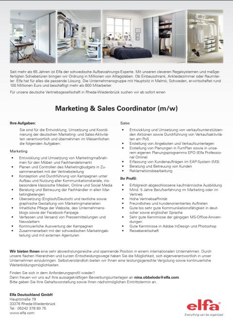 Jobangebot Marketing & Sales Coordinator (m/w)