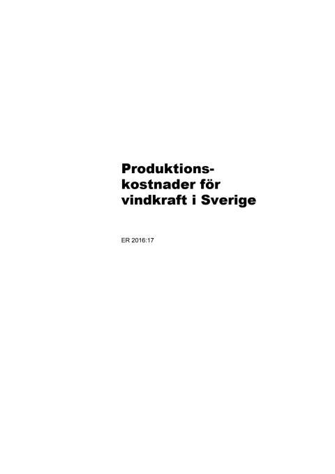Produktionskostnader för vindkraft i Sverige
