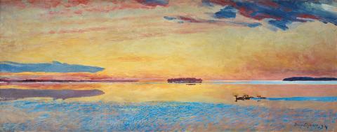 Bruno Liljefors, Solnedgång vid havsbandet