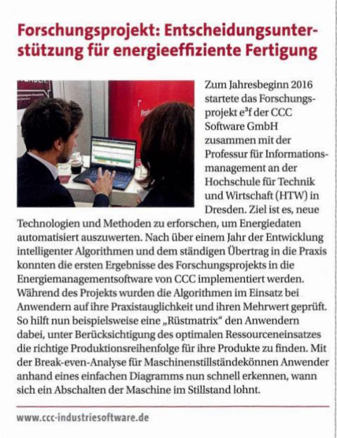 """Pressestimmen: """"Forschungsprojekt: Entscheidungsunterstützung für energieeffiziente Fertigung"""" in Der Betriebsleiter"""