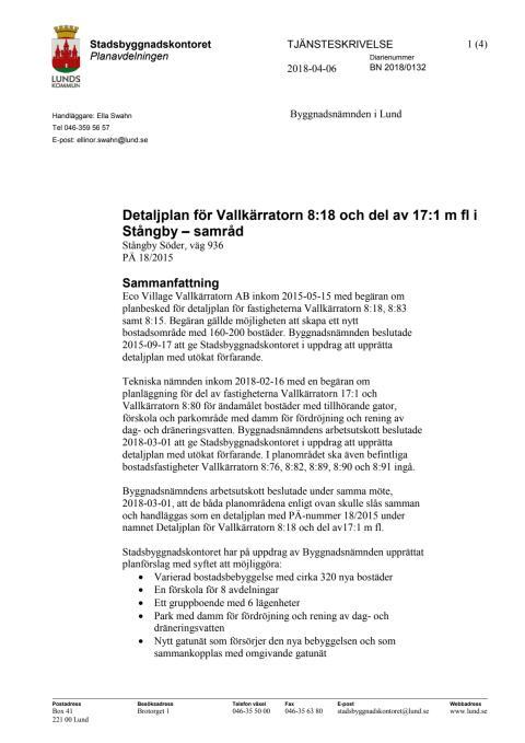 Tjänsteskrivelse för Stångby söder