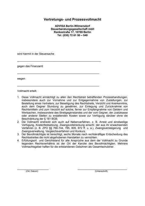 ADVISA - Vertretungs- und Prozessvollmacht gegenüber Finanzämtern