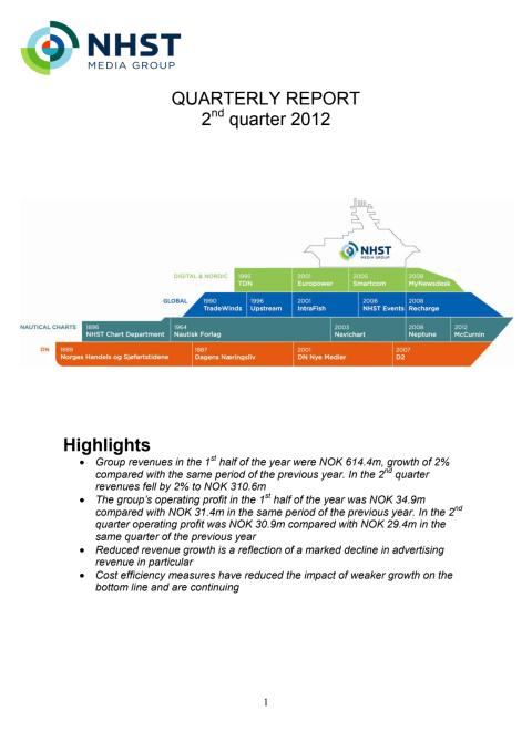 QUARTERLY REPORT 2nd quarter 2012