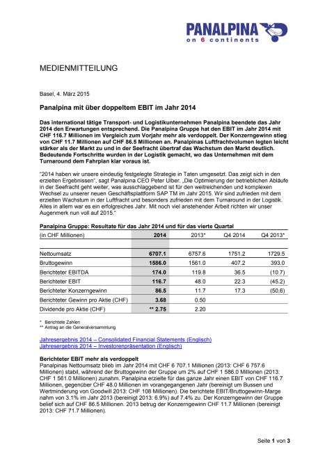 Panalpina mit über doppeltem EBIT im Jahr 2014
