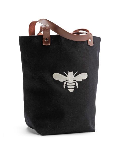 Väska i ekologisk bomull med broderat bi