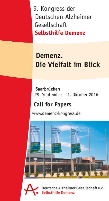 """9. Kongress der Deutschen Alzheimer Gesellschaft """"Demenz. Die Vielfalt im Blick"""""""