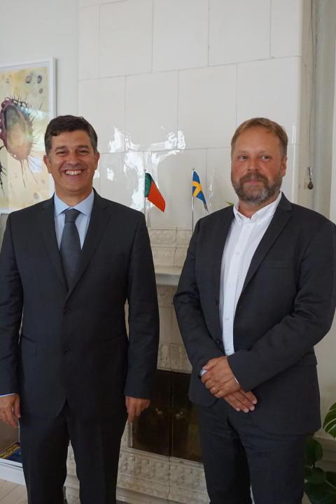 Portuguese Minister of Economy, Prof. Manuel Caldeira Cabral and Dr. Jonas Ekstrand, Director General of SwedenBIO