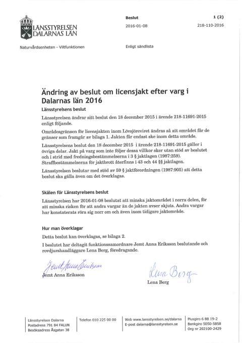 Beslut ändrat jaktområde Lövsjöreviret 8 januari