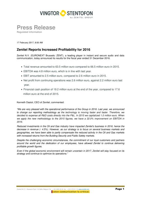 Zenitel Financial press release 17th February 2017 ENG