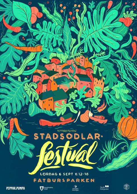 Stockholms första Stadsodlarfestival - affischen för den 6/9 2014