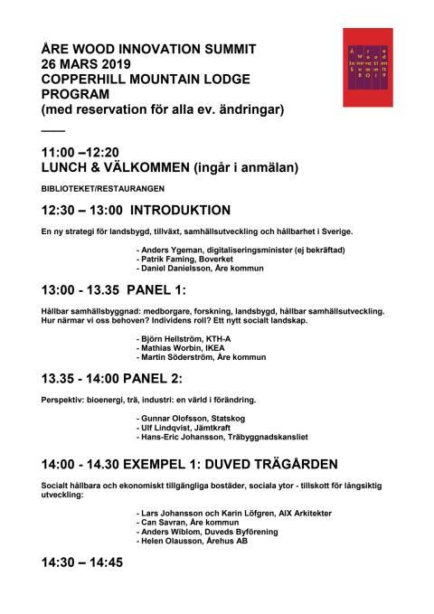 Program Åre Wood Innovations Summit