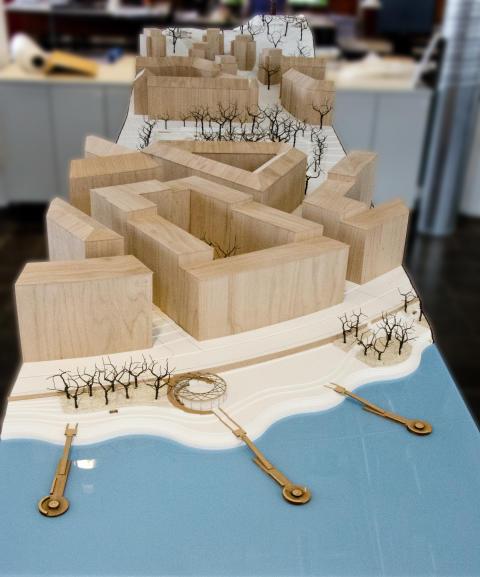 Modell av Årstabergsparken, Norra Bantorget och Hornsbergs strandpark