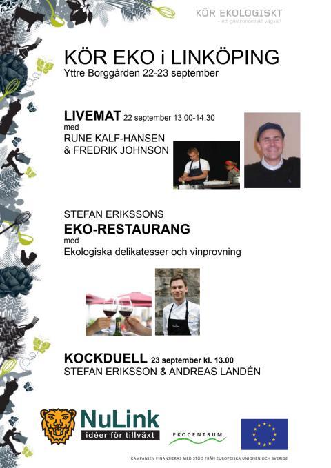 Live-mat, ekorestaurang och kockdueller i Linköping 22-23/9. OBS ny plats: Stora Torget