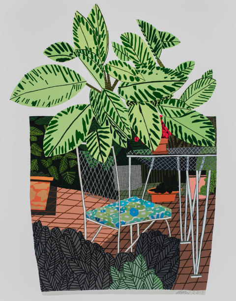 Jonas Wood, Landscape Pot With Flower Chair, 2016, Oil and acrylic on canvas, Courtesy of David Kordansky Gallery, Los Angeles, CA