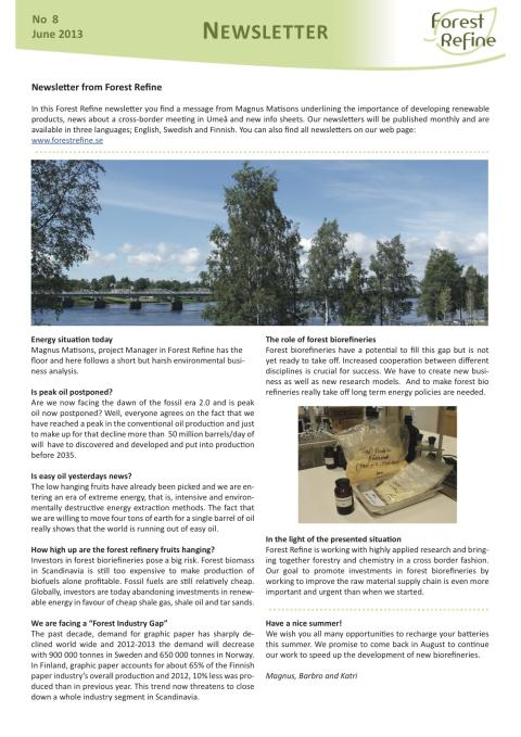 Forest Refine Newsletter No 8