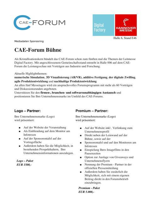 Sponsoring CAE-Forum Bühne auf der Hannover Messe 2017