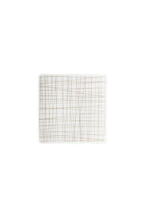R_Mesh_Line Walnut_Plate 14 cm square flat