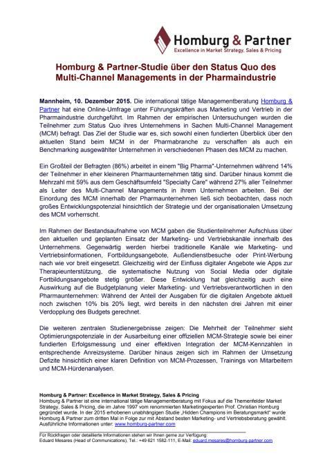 Homburg & Partner-Studie über den Status Quo des Multi-Channel Managements in der Pharmaindustrie