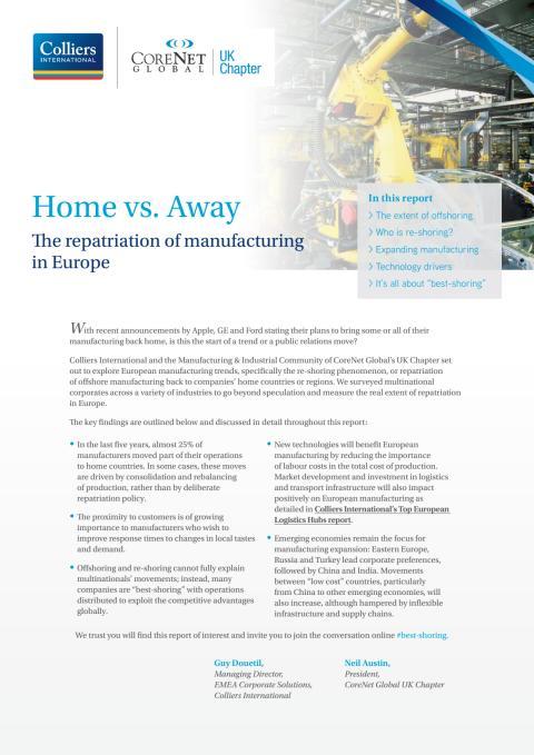 """Home vs. away - Återflytt av tillverkning till Europa utgör fortfarande undantagen för flera multinationella företag som föredrar """"bestshoring"""" i tillväxtekonomier"""