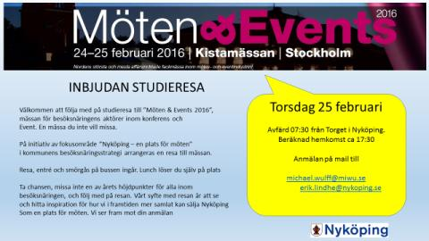 Följ med på Möten & Eventmässan i Kista 25 mars.