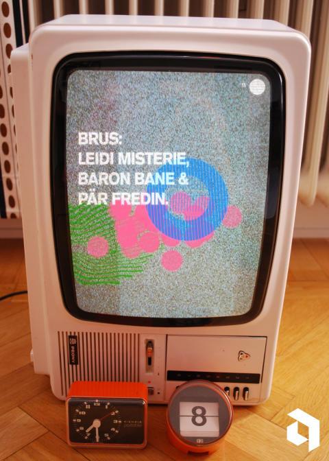 Brus-affisch Niklas Karlsson. Live: Leidi mysterie, Baron Bane, Pär Fredin 8 december
