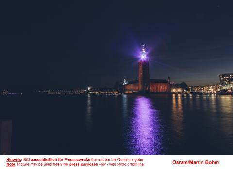 The Stockholm City Hall is one of seven buildings in Osrams Lightify during Eurovision Song Contest in Stockholm
