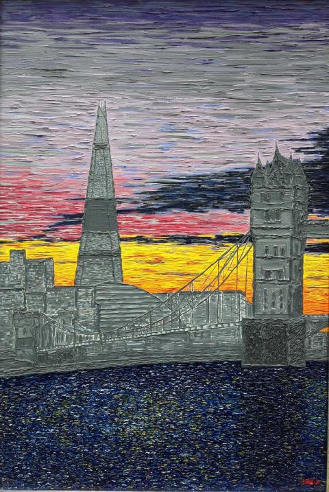 """""""Towering away!"""". A cityscape painting with a difference. Tower bridge and the Shad in various shades of grey."""